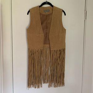 Anthropologie Bagatelle fringe leather vest
